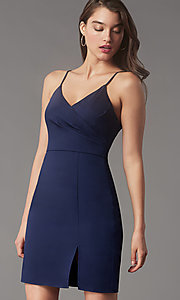 Image of short tight v-neck homecoming party dress by Simply. Style: LP-SD-MG20043 Detail Image 5