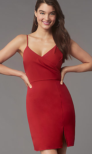 Short Tight V-Neck Homecoming Party Dress by Simply