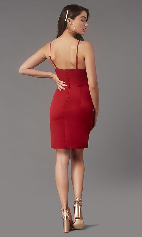 Image of short tight v-neck homecoming party dress by Simply. Style: LP-SD-MG20043 Back Image