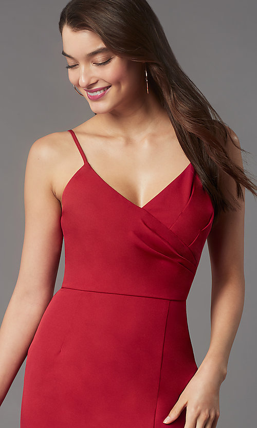 Image of short tight v-neck homecoming party dress by Simply. Style: LP-SD-MG20043 Detail Image 1