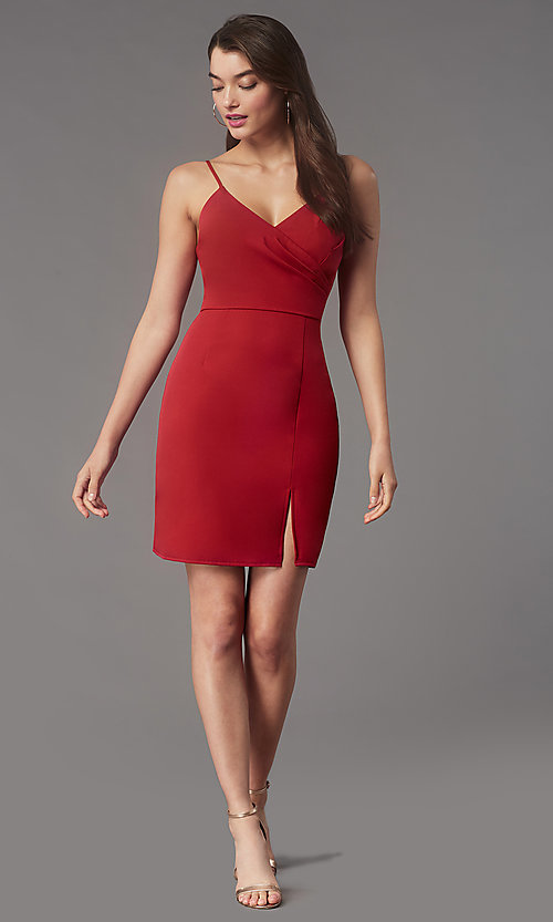 Image of short tight v-neck homecoming party dress by Simply. Style: LP-SD-MG20043 Detail Image 2
