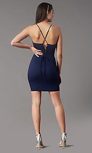 Image of corset-back short homecoming party dress by Simply. Style: LP-SD-MG26503 Back Image