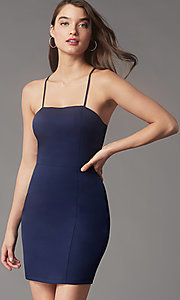 Image of corset-back short homecoming party dress by Simply. Style: LP-SD-MG26503 Front Image