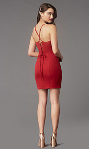 Image of corset-back short homecoming party dress by Simply. Style: LP-SD-MG26503 Detail Image 4