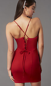 Image of corset-back short homecoming party dress by Simply. Style: LP-SD-MG26503 Detail Image 6