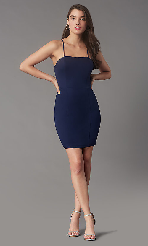 Image of corset-back short homecoming party dress by Simply. Style: LP-SD-MG26503 Detail Image 1