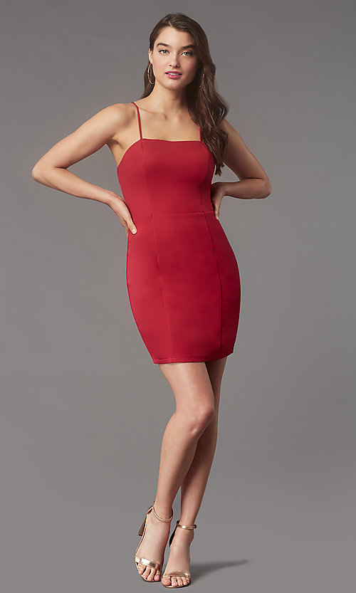 Image of corset-back short homecoming party dress by Simply. Style: LP-SD-MG26503 Detail Image 3
