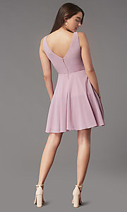 Image of jeweled-waist short homecoming dress by Simply. Style: LP-SD-26455 Back Image
