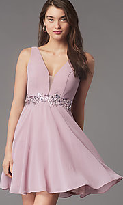 Image of jeweled-waist short homecoming dress by Simply. Style: LP-SD-26455 Front Image