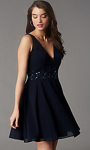 Image of jeweled-waist short homecoming dress by Simply. Style: LP-SD-26455 Detail Image 3