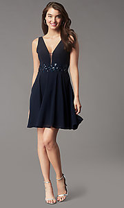 Image of jeweled-waist short homecoming dress by Simply. Style: LP-SD-26455 Detail Image 6