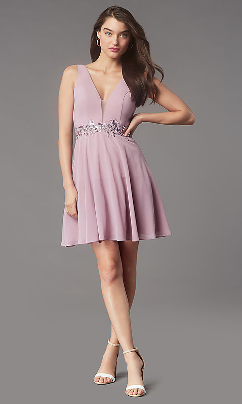 Image of jeweled-waist short homecoming dress by Simply. Style: LP-SD-26455 Detail Image 1
