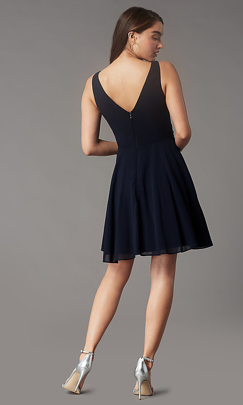 Image of jeweled-waist short homecoming dress by Simply. Style: LP-SD-26455 Detail Image 4
