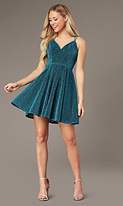 Image of short a-line homecoming party dress in glitter knit. Style: LP-PL-26493 Detail Image 3