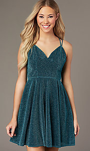 Image of short a-line homecoming party dress in glitter knit. Style: LP-PL-26493 Detail Image 5