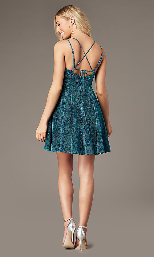 Image of short a-line homecoming party dress in glitter knit. Style: LP-PL-26493 Detail Image 4