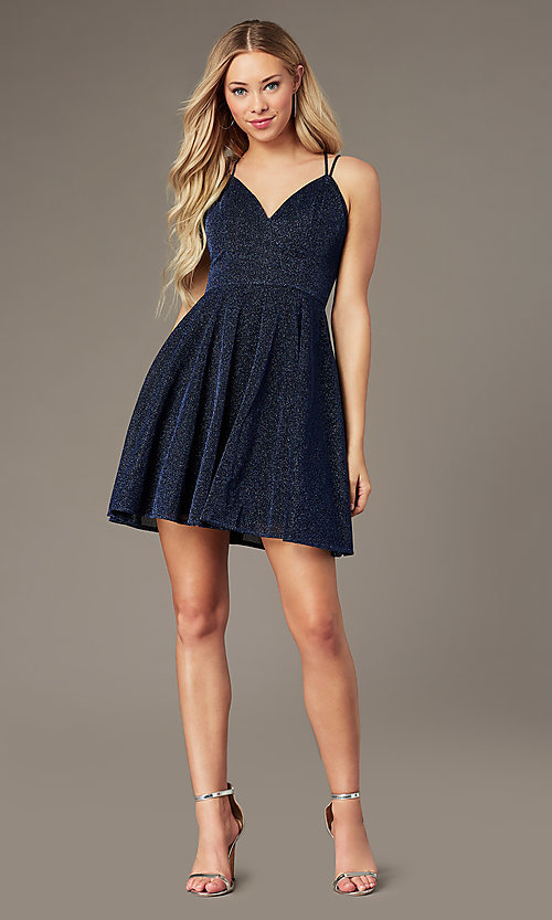 Image of short a-line homecoming party dress in glitter knit. Style: LP-PL-26493 Front Image