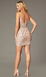 Image of short slim-fit v-neck homecoming party dress. Style: DQ-3161 Back Image