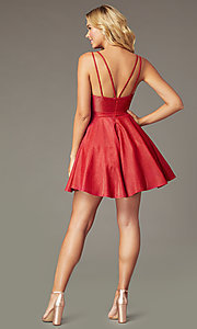 Image of short a-line metallic-knit v-neck homecoming dress. Style: DQ-3183 Back Image