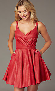 Image of short a-line metallic-knit v-neck homecoming dress. Style: DQ-3183 Detail Image 1