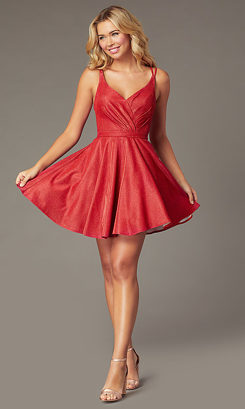 Image of short a-line metallic-knit v-neck homecoming dress. Style: DQ-3183 Front Image