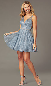 Image of glitter-mesh v-neck short a-line homecoming dress. Style: DQ-3126 Front Image