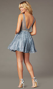 Image of glitter-mesh v-neck short a-line homecoming dress. Style: DQ-3126 Back Image
