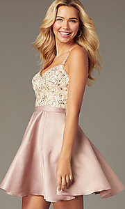 Image of beaded-bodice short satin mocha homecoming dress. Style: DQ-3125 Front Image