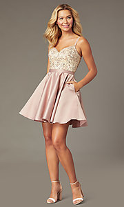 Image of beaded-bodice short satin mocha homecoming dress. Style: DQ-3125 Detail Image 1