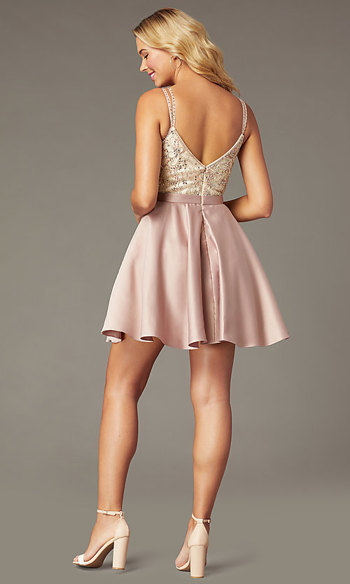 Image of beaded-bodice short satin mocha homecoming dress. Style: DQ-3125 Back Image