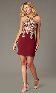 Image of beaded-bodice short homecoming dress with keyhole. Style: DQ-PL-3215 Front Image