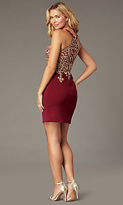 Image of beaded-bodice short homecoming dress with keyhole. Style: DQ-PL-3215 Back Image
