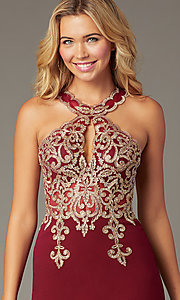 Image of beaded-bodice short homecoming dress with keyhole. Style: DQ-PL-3215 Detail Image 1