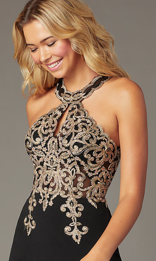 Image of beaded-bodice short homecoming dress with keyhole. Style: DQ-PL-3215 Detail Image 4