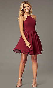 Image of burgundy a-line short chiffon homecoming dress. Style: DQ-PL-3190 Front Image