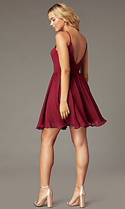 Image of burgundy a-line short chiffon homecoming dress. Style: DQ-PL-3190 Back Image