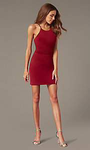 Image of short tight burgundy red homecoming dress. Style: NC-PL-280 Detail Image 1