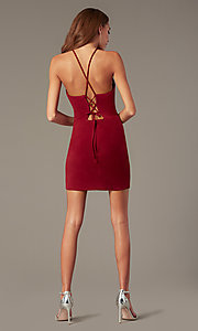Image of short tight burgundy red homecoming dress. Style: NC-PL-280 Detail Image 2