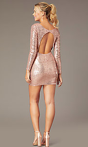 Image of short sequin long-sleeve v-neck homecoming dress. Style: MCR-PL-2879 Back Image