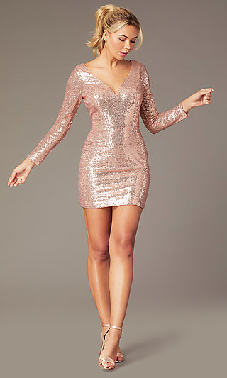 Short Sequin Long-Sleeve V-Neck Homecoming Dress