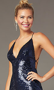 Image of open-back tight short sequin homecoming dress. Style: MCR-PL-2927 Detail Image 1