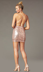Image of open-back tight short sequin homecoming dress. Style: MCR-PL-2927 Detail Image 3