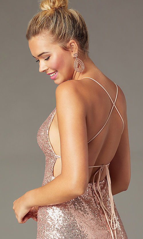 Image of open-back tight short sequin homecoming dress. Style: MCR-PL-2927 Detail Image 5