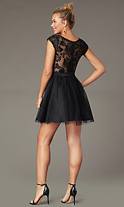 Image of cap-sleeve short homecoming dress with embroidery. Style: MCR-PL-2938 Back Image
