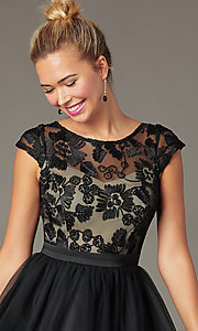 Image of cap-sleeve short homecoming dress with embroidery. Style: MCR-PL-2938 Detail Image 1
