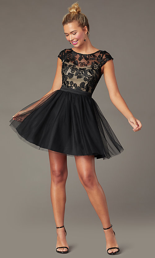 Image of cap-sleeve short homecoming dress with embroidery. Style: MCR-PL-2938 Front Image
