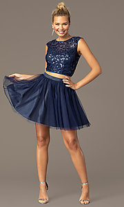 Image of short two-piece navy homecoming dress with sequins. Style: MCR-PL-2878 Front Image