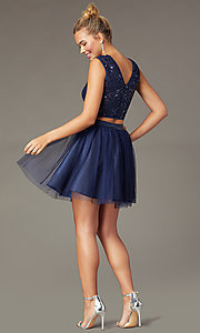 Image of short two-piece navy homecoming dress with sequins. Style: MCR-PL-2878 Back Image