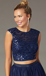Image of short two-piece navy homecoming dress with sequins. Style: MCR-PL-2878 Detail Image 1