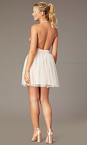 Image of short homecoming dress with rose gold sequins.  Style: MCR-PL-2942 Back Image